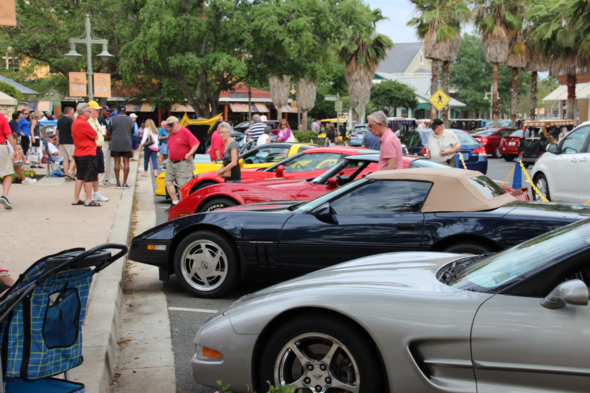 Corvettes on display