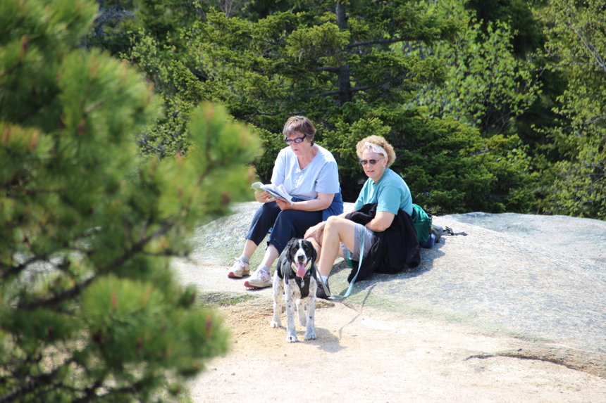 Marian, Cheryl and Shelby resting at firetower.