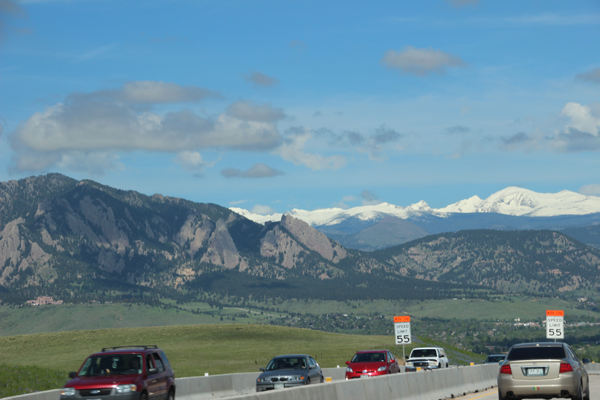 First view of the Rocky Mountains from the highway