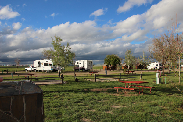 Limon, CO campsite with highway in background.