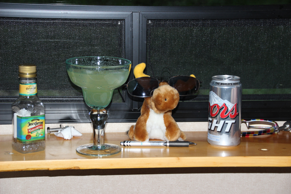 Mickey (in disguise) joining in on our Happy Hour